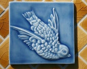 Bird Flying - Victorian Style Decorative 4x4 handmade ceramic tile - Azure Blue - for kitchen or fireplace decor