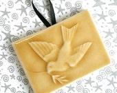 Bird of Peace - Handmade Ceramic Tile Ornament in glossy Goldenrod crackle glaze