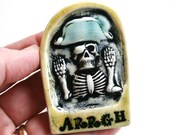 ARRGH - Talk Like A Pirate Skeleton - handmade ceramic tile magnet to decorate your fridge