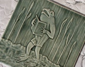 Musical Frog Singer in the Pond Marshes - Victorian postcard image carved on handmade ceramic tile for your home decor