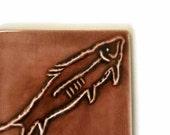 Petroglyph Fossil Fish - Handmade Ceramic Tile for kitchen backsplash, fireplace, or bath
