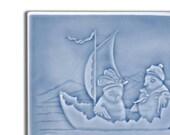 Chicks sailing in an Eggshell boat - Victorian postcard - handmade ceramic tile for home decor