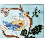 French Art Nouveau Fancy Bird in Fruit Tree - handmade ceramic tile for home decor - kitchen backsplash, bath, fireplace