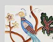 Art Nouveau Style Bird in Tree - handmade ceramic tile for home decor - kitchen backsplash, bath, fireplace