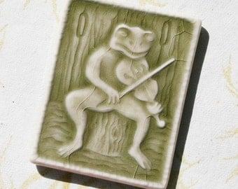 Frog Fiddling in the Amphiabian Band - ceramic tile magnet