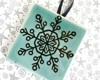 Snowflake 1 - Handmade Ceramic Tile Ornament - turquoise