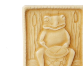 Frog Drummer magnet - - musical amphibain - handmade tile - perfect teacher or co-worker gift