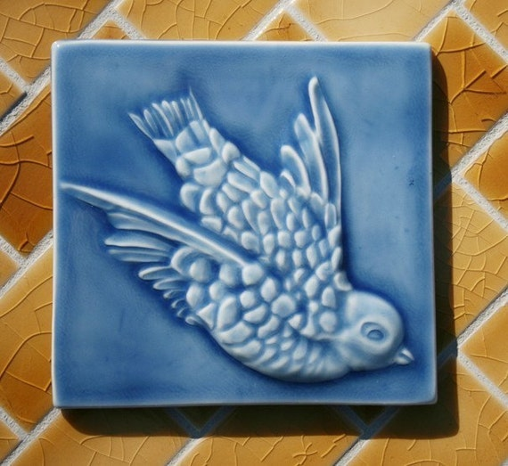 Bird Flying Victorian Style Decorative 4x4 Handmade Ceramic