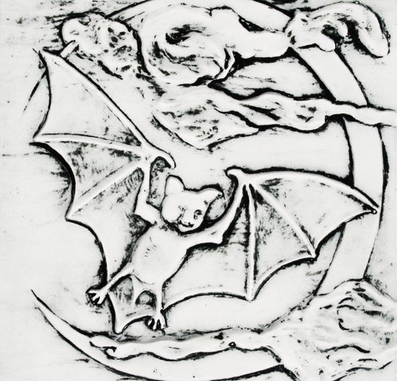 Bat, Clouds, and Crescent Moon - home decor - ceramic tile with black and white glazes