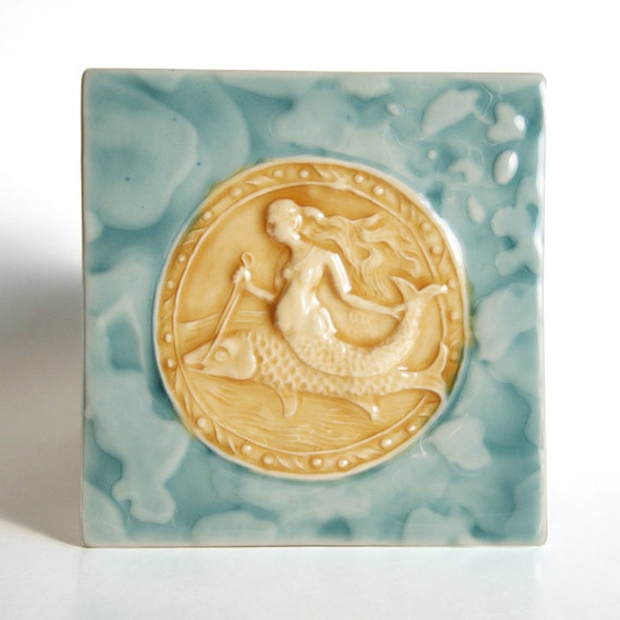 Mermaid Riding a Fish - handmade ceramic tile - turquoise and goldenrod