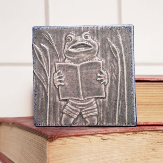 Musical Frog - Singer in the Pond Band - 4x4 decorative tile for home decor and tile collectors