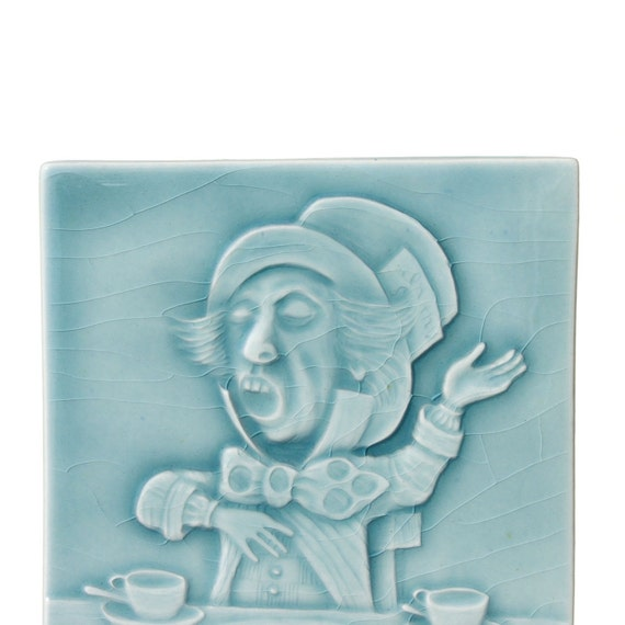 The Mad Hatter - Alice In Wonderland - Collectible Ceramic Art Tile - Turquoise Crackle Glaze
