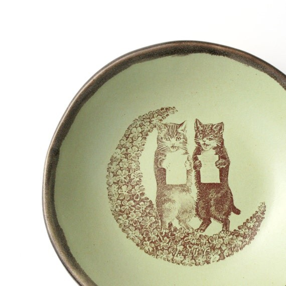 Singing Cats on Flower Moon - sweet little handmade ceramic bowl with Victorian image - pistachio green and black - decorative
