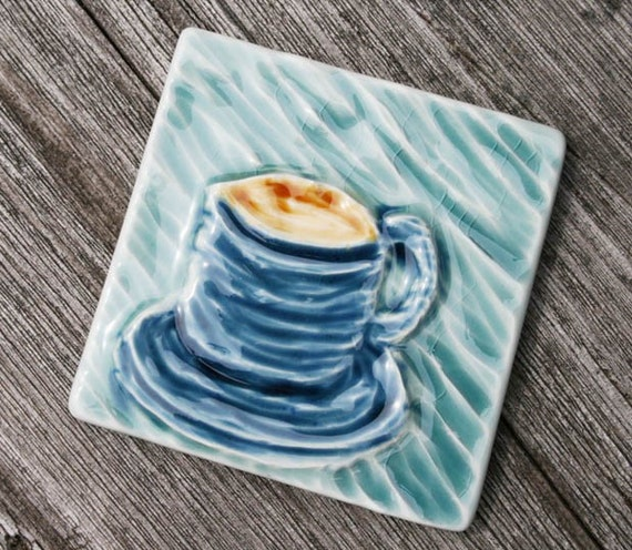 Tea Cup Tile - Hand Carved
