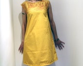 Sunbeam A-line mini-dress, with mustard and red toile yoke piece, size Small-Medium