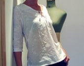white, light and loose blouse or tunic - with 3\/4 length sleeves, embroidered cotton- size small-medium