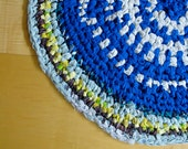 """HANDMADE VINTAGE RUG 31"""" -Blue and White striped knotted round rug"""
