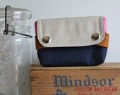 small pouch - midnight blue and pink