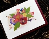 Kathie McCurdy - Pressed Flowers Cabernet 5x7 Blank Greeting Cards - Set of 8