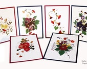 Kathie McCurdy Enchanted Garden Pressed Flower Card Collection - Set of 6