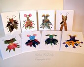 Kathie McCurdy Pressed Flowers & Botanical Art Thumbelina's Closet Fairy Greeting Cards - Set of 8
