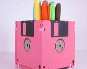 Floppy Disk Pen and Pencil Holder (PINK)