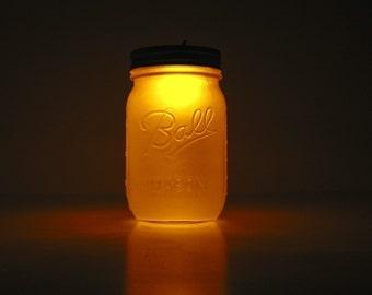 Flickering Candle Mason Jar Night Light