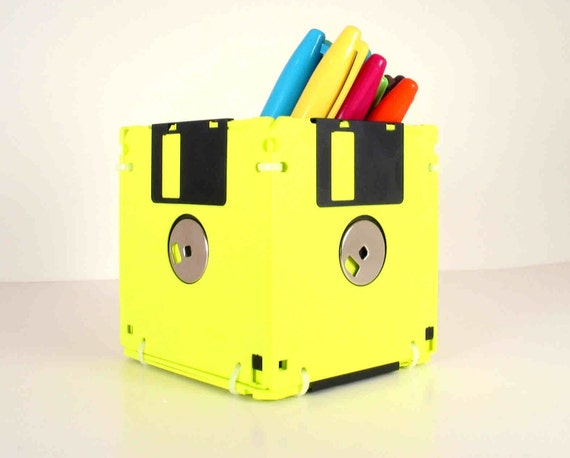 Floppy Disk Pen and Pencil Holder (Fluorescent Yellow)