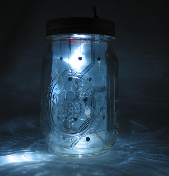 Cyber Circuit Board Mason Jar Night Light (White)