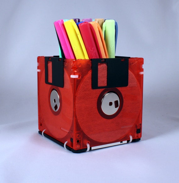 Floppy Disk Pen and Pencil Holder (TRANSLUCENT RED)