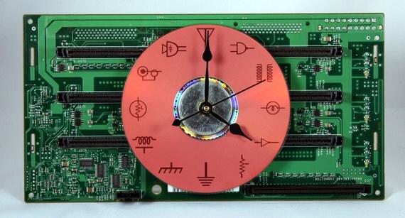 Computer Circuit Board Desk / Mantel Clock