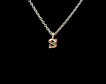 Silver Initial Necklace - Teensy Tiny