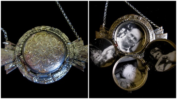 Ornately Silver - Vintage 4 Picture Locket Necklace