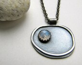 Pebble and the Moon sterling silver and rainbow moonstone pendant