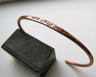 Latin Amor Vincit Omnia copper bracelet - made to order - Love Conquers All