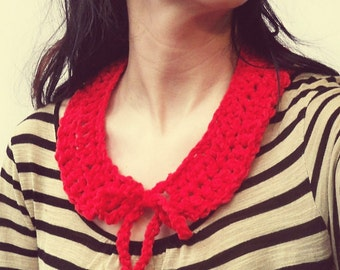 Red knit collar necklace - sweet round collar hand crocheted from recycled acrylic - VEGAN
