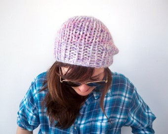 Chunky Knit White Pastel Handdyed Beret - Handmade Pink Purple Watercolor Tiedye Beanie - Soft Cloud Angora Eco Friendly Upcycled Yarn Hat