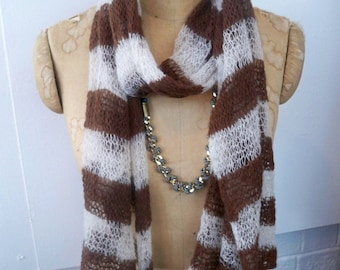 Striped scarf in recycled mohair cream and brown- airy lightweight wrap - sheer stripe shawl