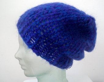 Cobalt Blue Indigo Purple Fuzzy Mohair Beanie -Eco Friendly Recycled Yarn Handknit Beret Hat - Slouchy Chunky Knit Baggy Handmade Fall Hat