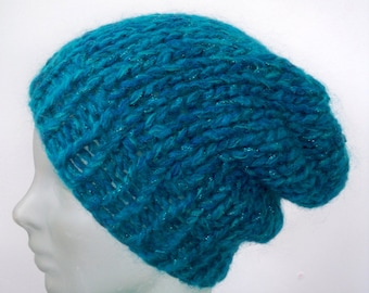 Teal Slouchy Hand Knit Beanie - Sparkle Chunky Wool Handknit Toboggan Hat - Blue Green Recycled Ecofriendly Yarn Slouchy Baggy Beret Cap