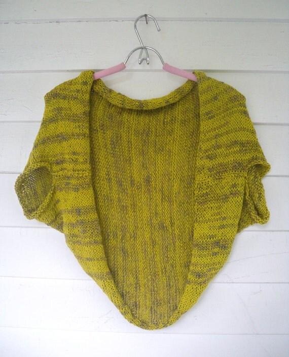 One of a Kind Hand Knit Bolero Shrug in Recycled Chartreuse Green Cotton Yarn - Handmade Crop Top Cardi Handknit Short Sleeve Cardigan