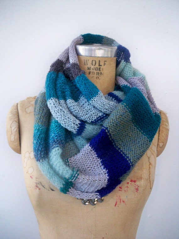 Long multicolor infinity scarf - mermaid blues - recycled ecofriendly yarns cowl