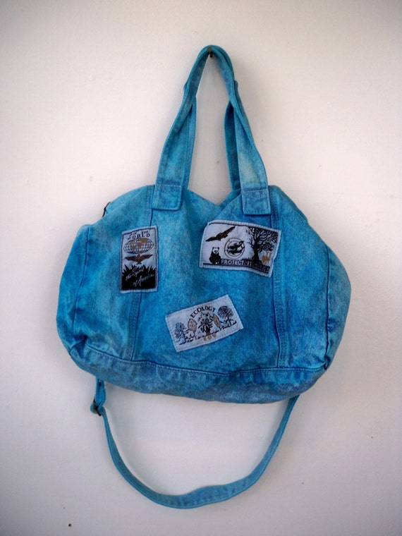 Acid wash 80s denim purse - hand dyed electric blue - eco friendly patches