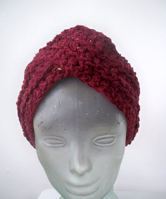 Maroon turban crocheted in recycled wool and chenille - soft tweed dark red knit hat