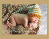 Newborn Baby Knit Hat BoY GiRL PHoTO PRoP Unisex Gold Aqua Stripe Stocking Cap LoNG TAiL MuNCHKiN HaT Pick Color Elf Beanie CoMiNG HoME GiFT