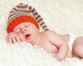 Funky Elfin Newborn Baby Munchkin Hat - orange with aqua stripes Stocking Cap with long tail - FEATURED IN GIFT GUIDE WWW PARENTS COM - Custom Knit to Order.