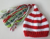Newborn Boy Girl CHRiSTMaS Hat Baby PHoTO PRoP Knit to Order SuPeR TaSseL CHUCKLES Cap Red White w Green Plaid PiCK CoLORS Holiday ToQUE