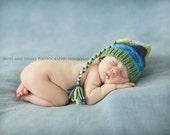 Newborn Boy Hat BaBY PHoTO PRoP Newborn Knit Baby Hat TaSSeL SToCKiNG CaP Blue Green Stripe PiCk CoLORs Toque FCN Pixie Beanie