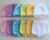 1 Baby 3 to 6 month DiapeR CoveR & HaT Photo PROPs Pick Any Color KNiT to ORDeR Boy Girl Unigender NeUtral PaSTeL BRiGhts Soaker Cap Set