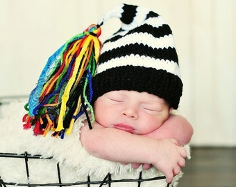 Newborn Boy Knit Hat BaBY PhoTO ProP Unisex Black White Stripe Stocking Cap BiG RAiNBoW TaSSeL Coming Home Beanie GiRL ToQUe Shower Gift Hat